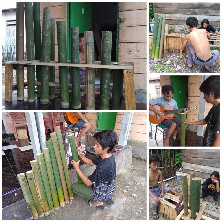 Pemuda Nambo Kreasikan Alat Musik Dari Bambu